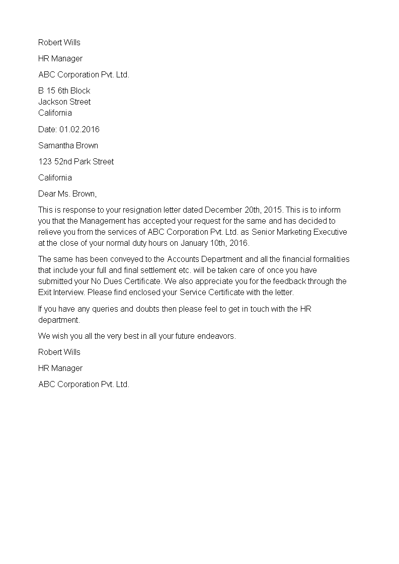Resignation Acceptance Letter And Relieving Letter Main Image Download  Template