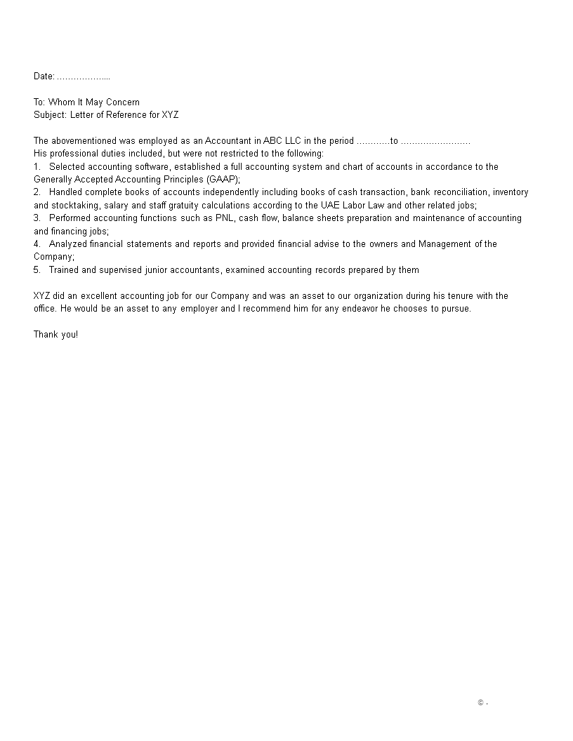 Free financial accountant reference letter templates at financial accountant reference letter main image expocarfo Image collections