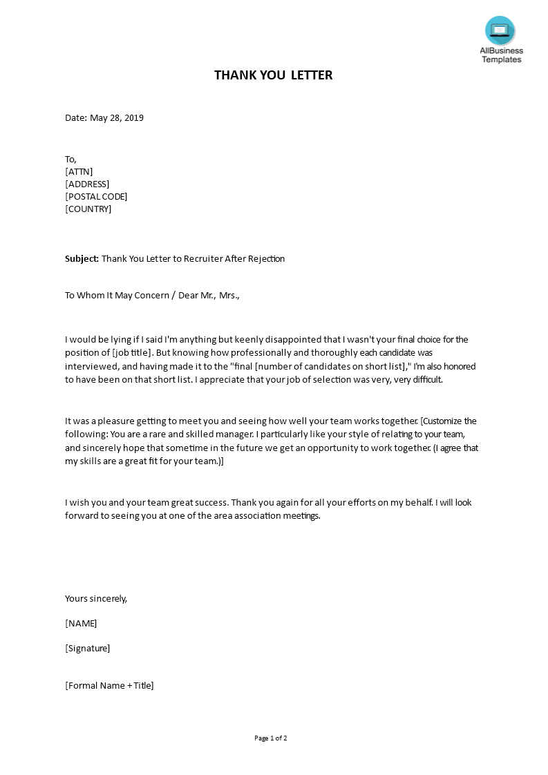 Thank You Letter to Recruiter After Rejection | Templates at