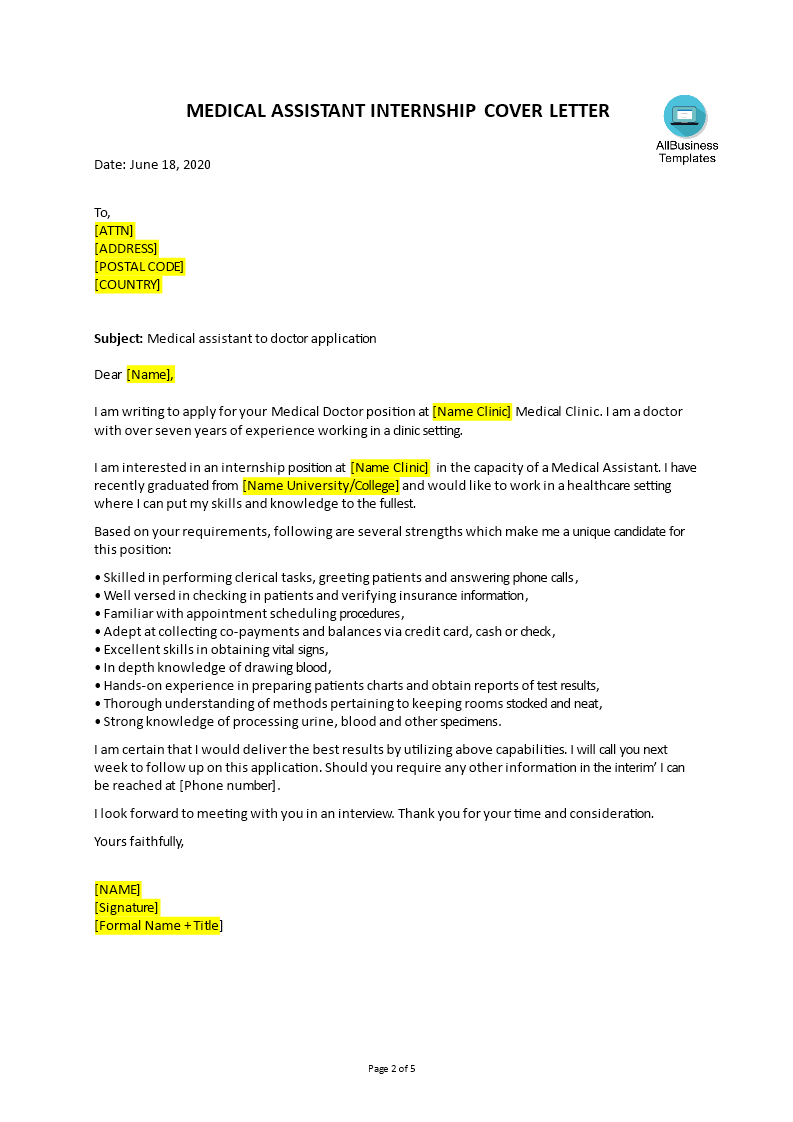 Telecharger Gratuit Medical Assistant Cover Letter Example