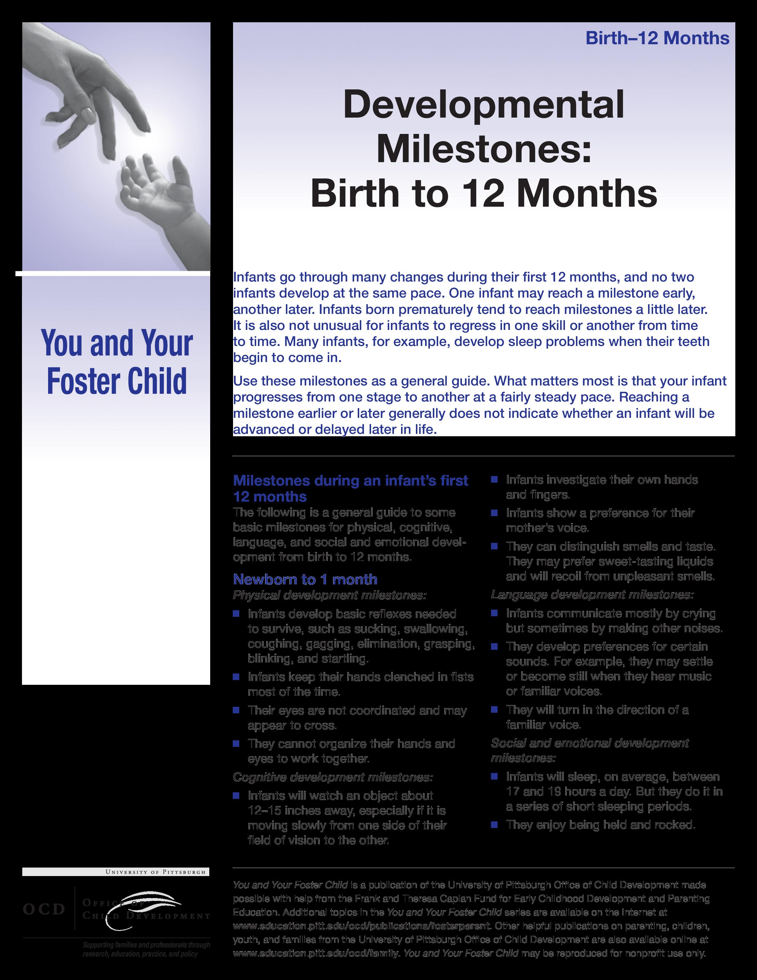 Baby Milestones Chart Template | Free Premature Baby Development Chart Templates At