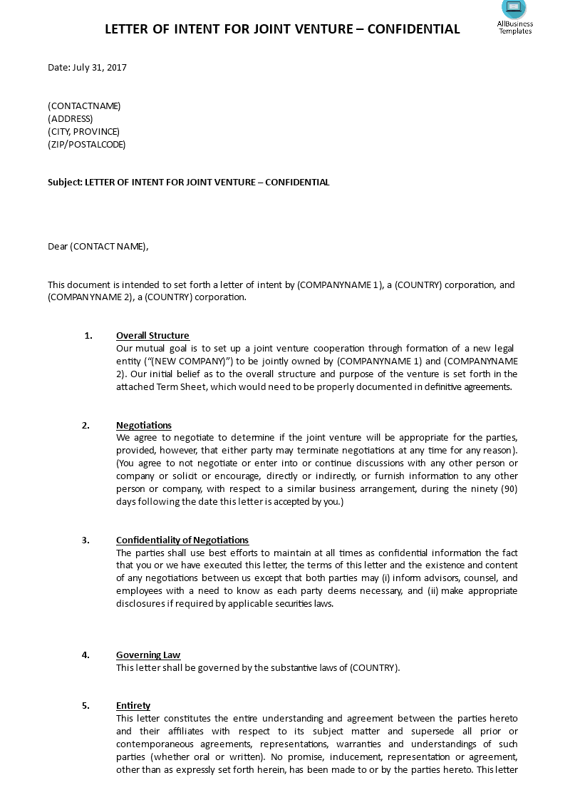 Joint Venture Letter Of Intent Template – Term Sheet Template