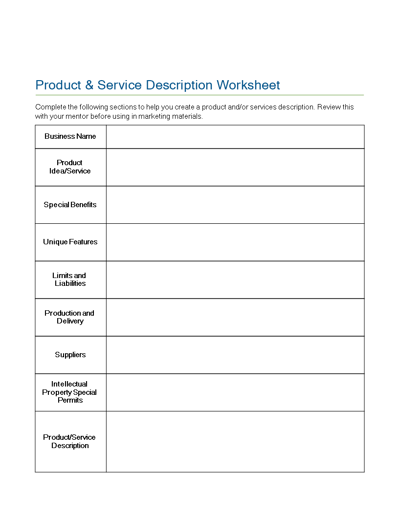 Product Service Description Worksheet Templates At