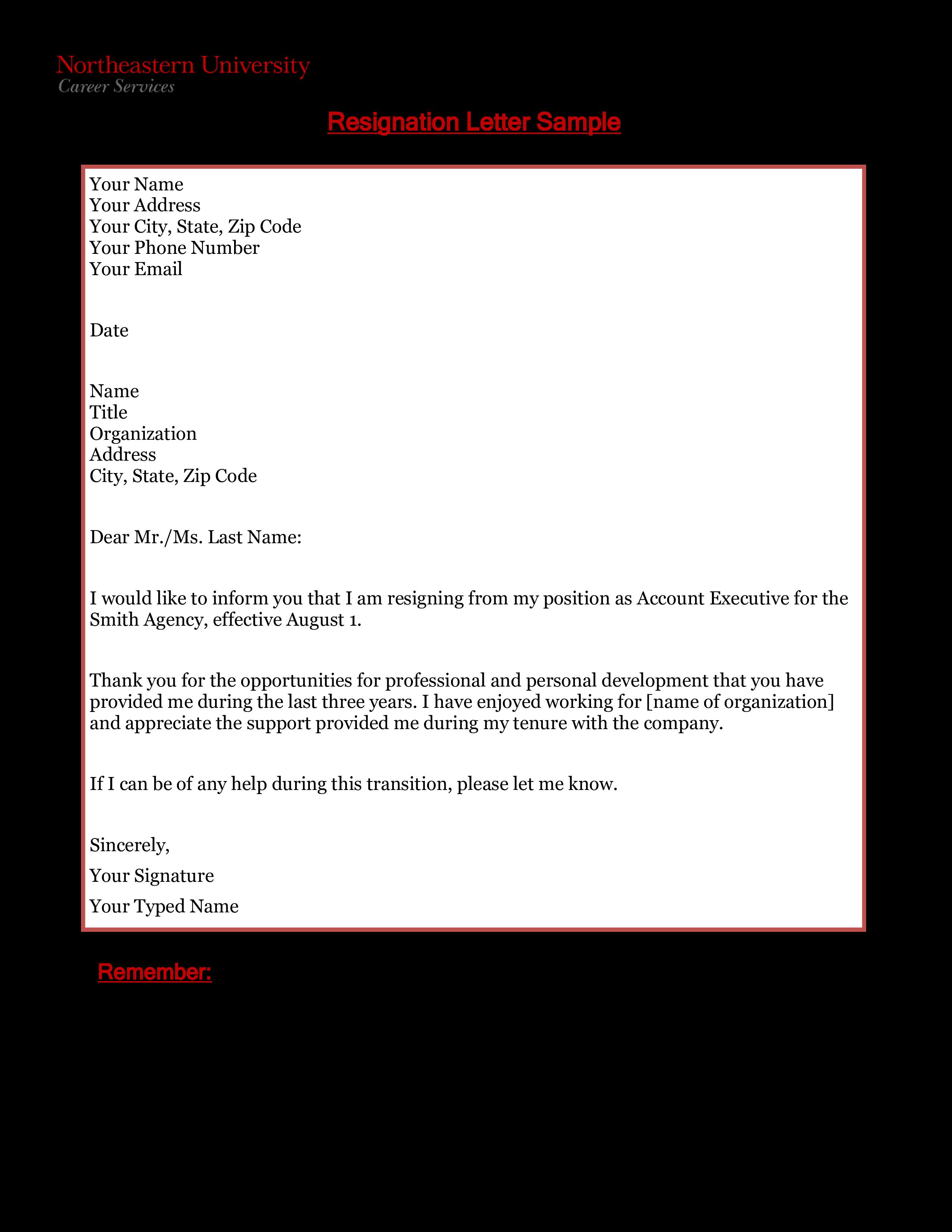 Sample Work Resignation Letter | Templates at ...