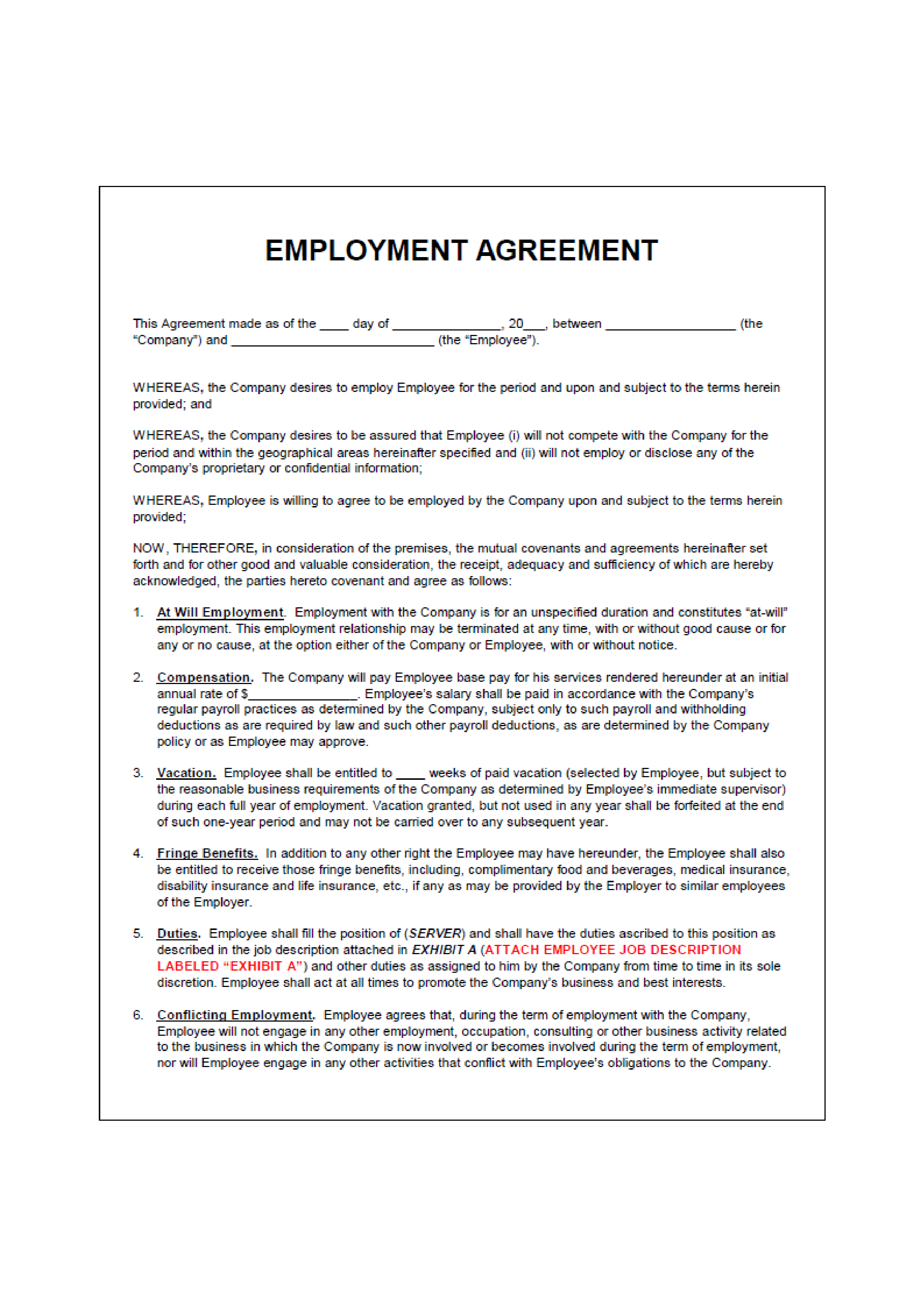 Free Employment Agreement Cafe Templates At Allbusinesstemplates