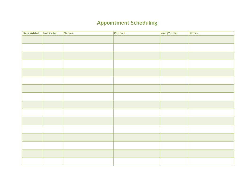 Appointment scheduling template  Templates at Within Appointment Sheet Template Word
