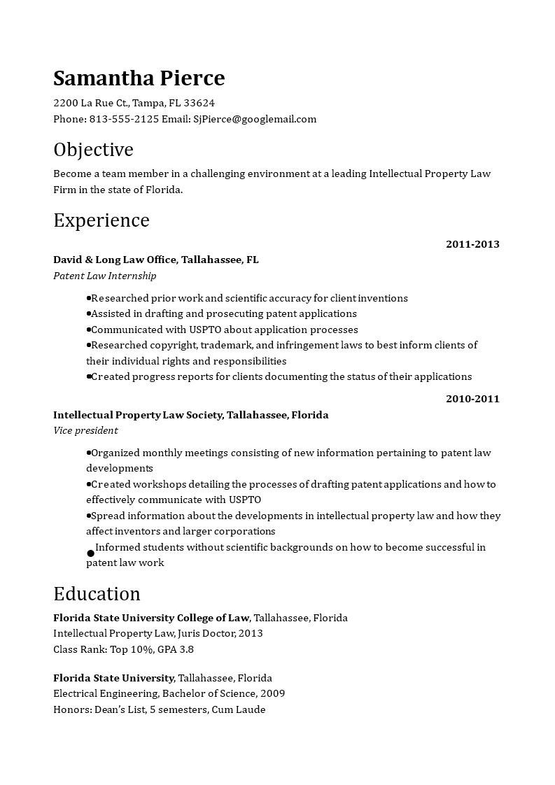 免费Patent Attorney Resume | 样本文件在allbusinesstemplates.com