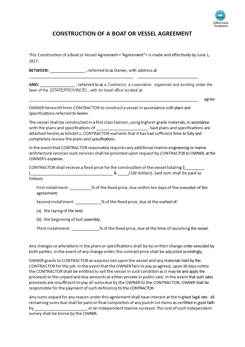Construction of a boat or vessel agreement templates at for Boat partnership agreement template