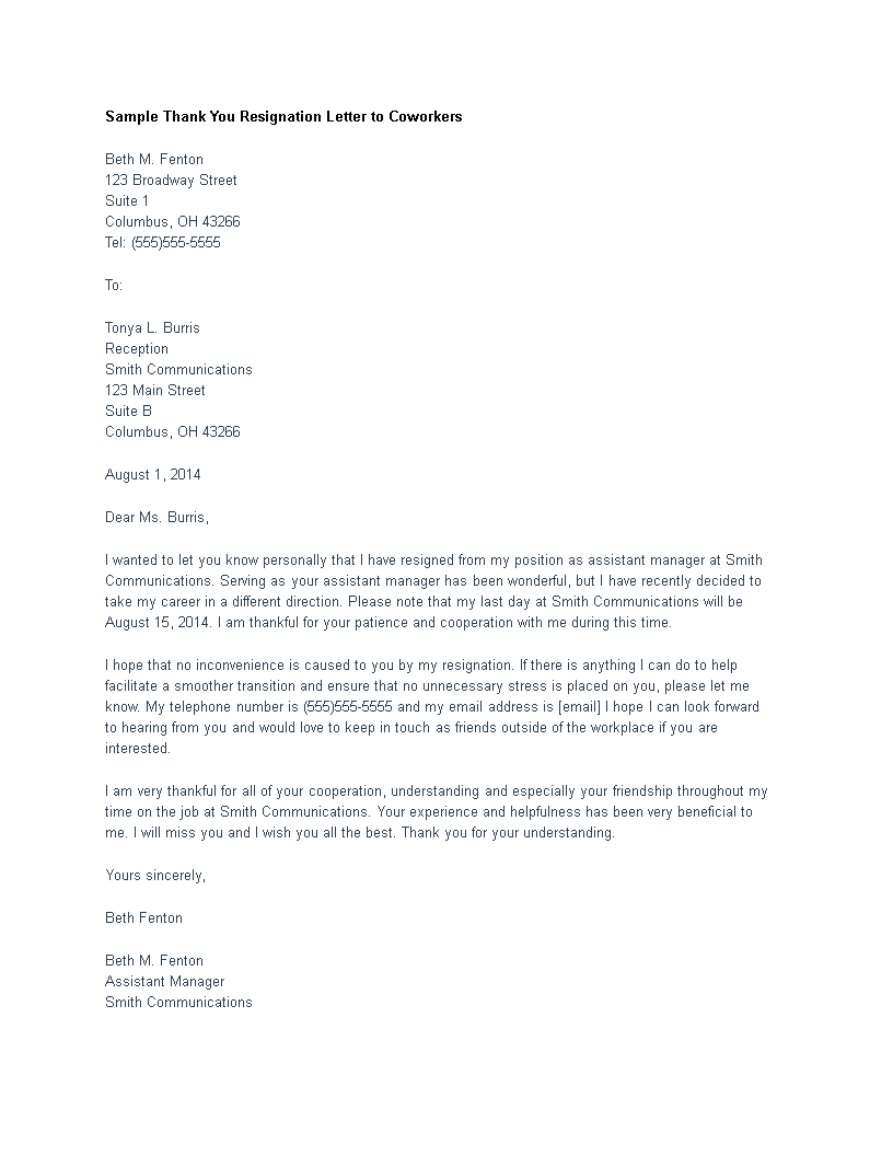 Free Thank You Resignation Letter To Coworkers Templates At