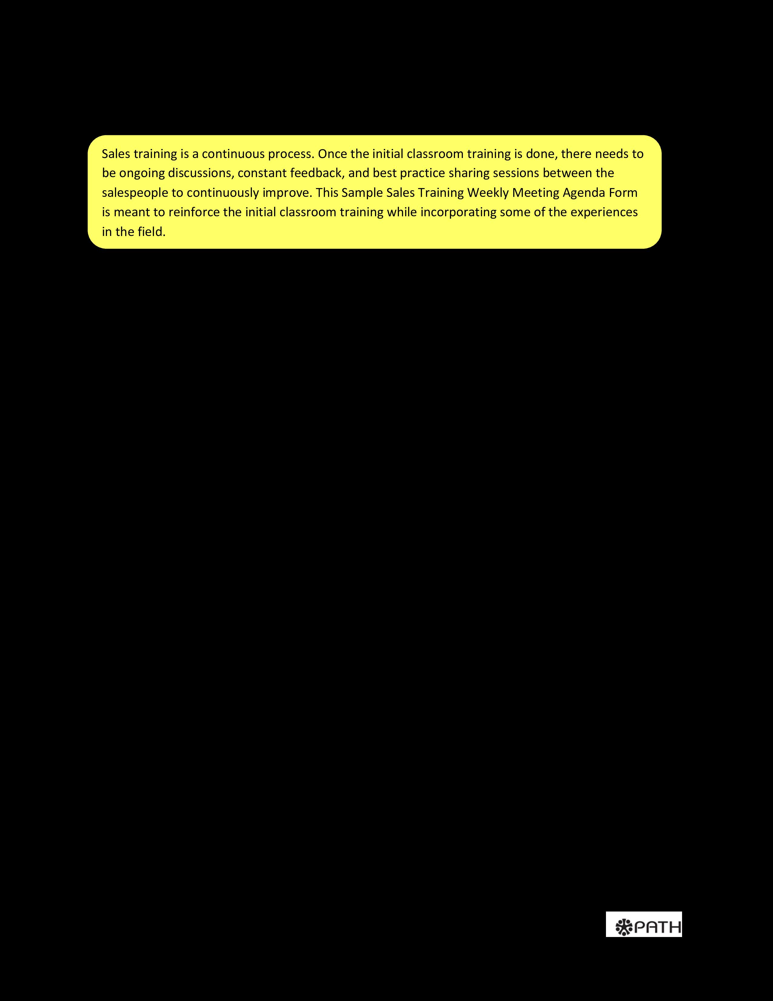 free field sales training agenda templates at