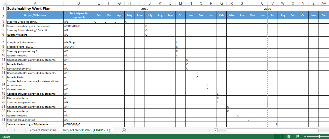 project work plan excel