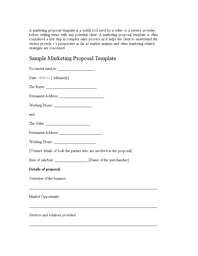Sample Marketing Proposal Cover Letter main image