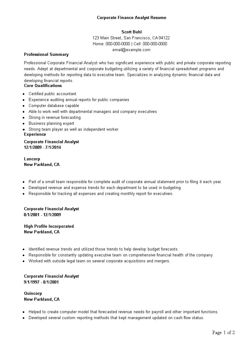 Corporate Finance Analyst Resume | Templates at