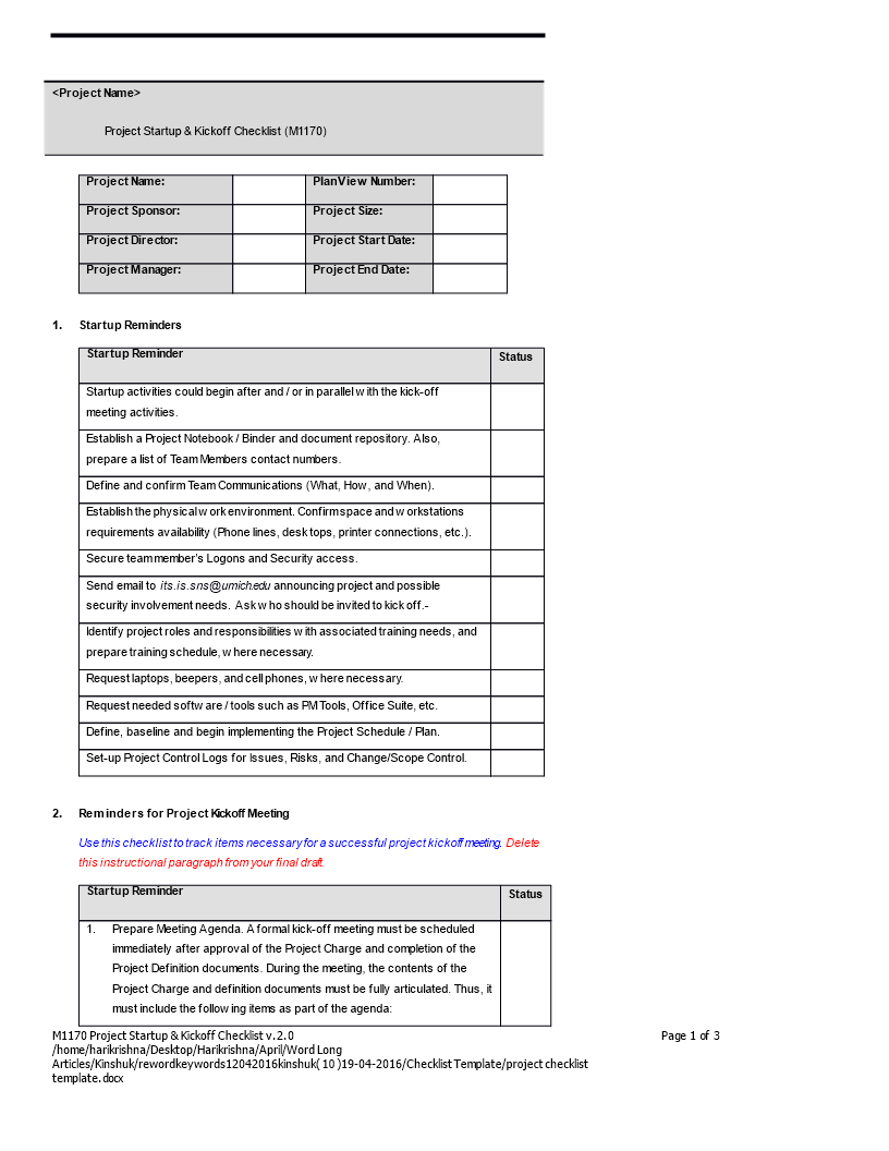 project checklist word format main image
