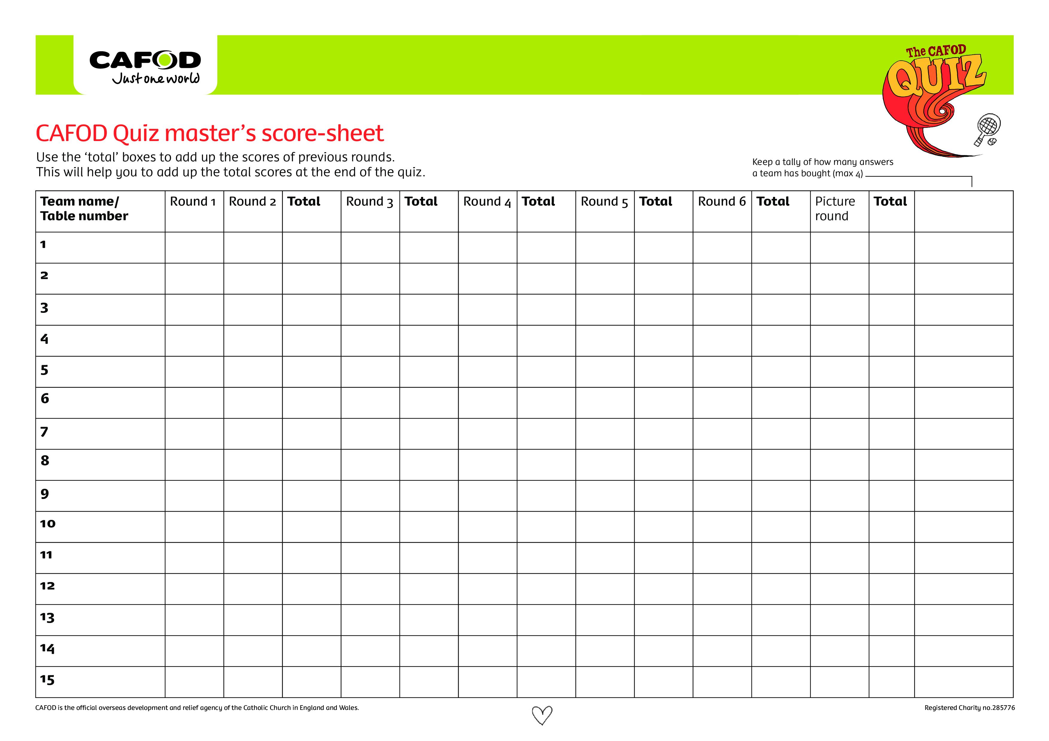 Quiz Score Sheet Main Image Download Template