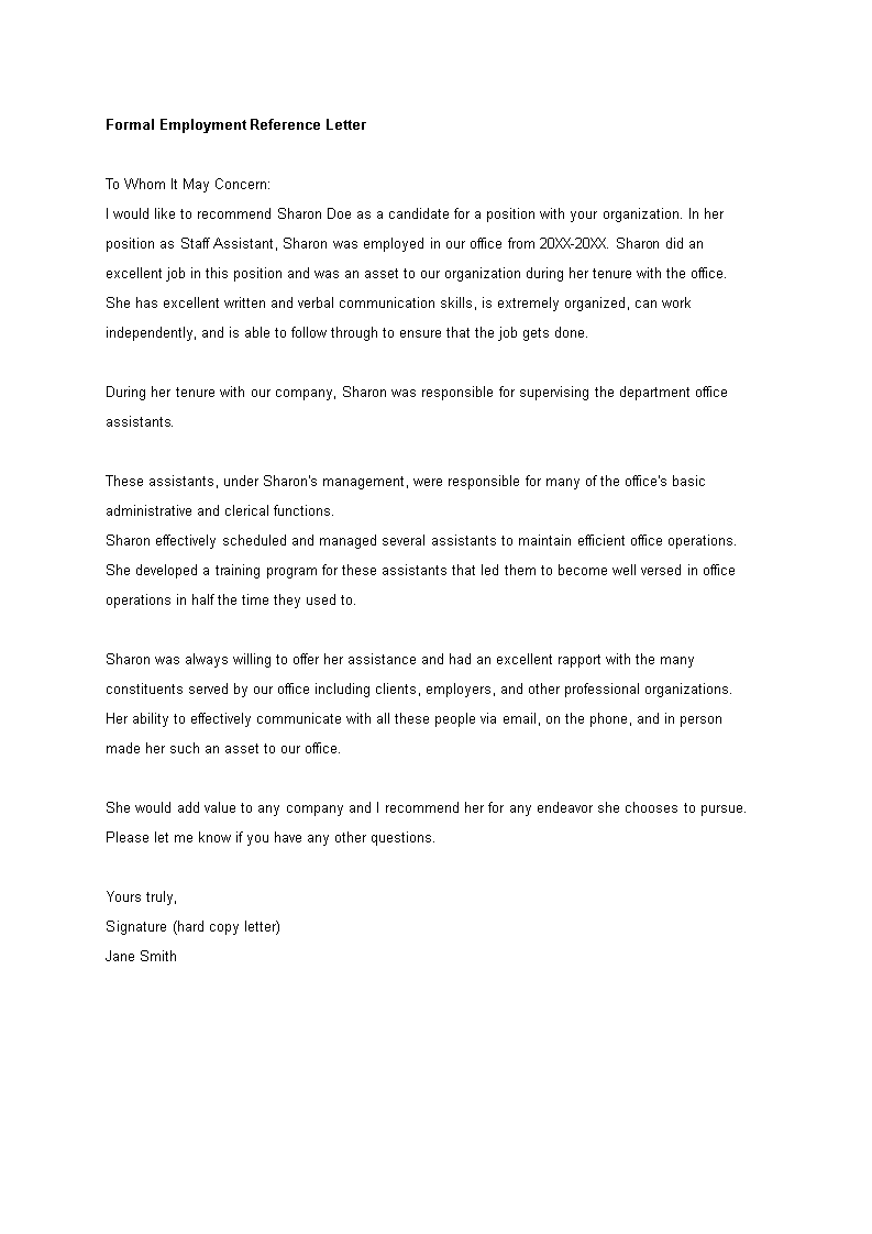generic employment reference letter main image