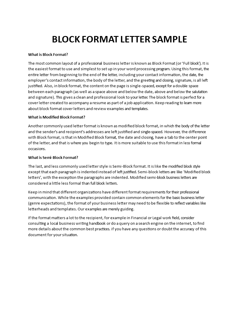 Business Letter Format main image