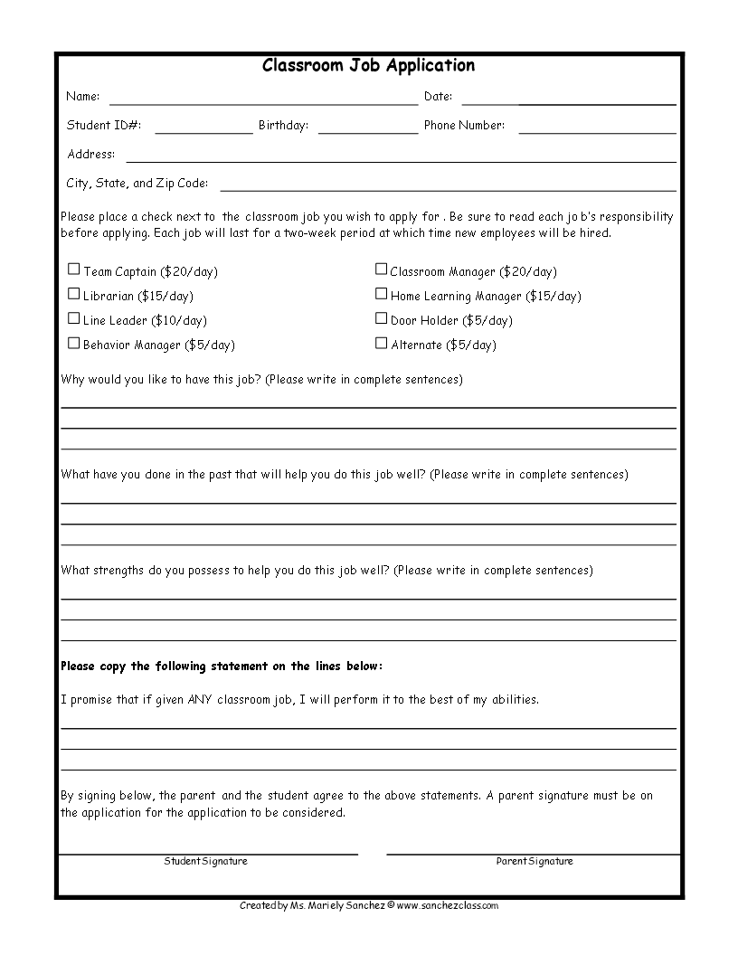 job application template for students