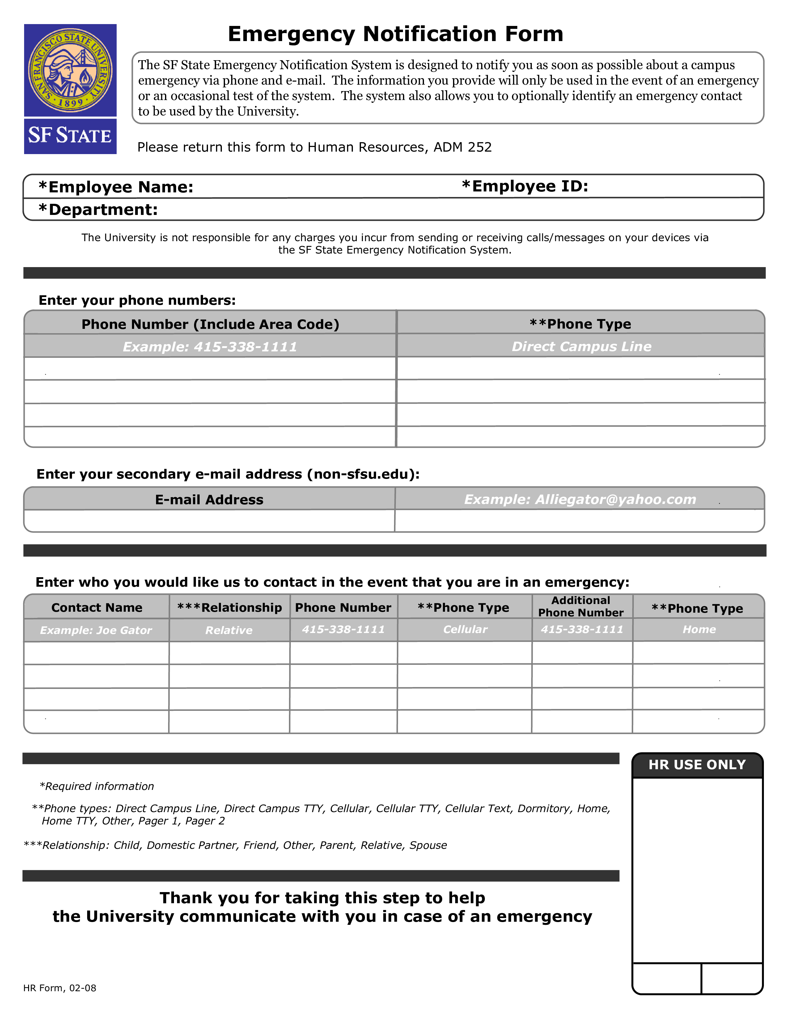 Free Interactive Employee Emergency Notification Form | Templates at ...