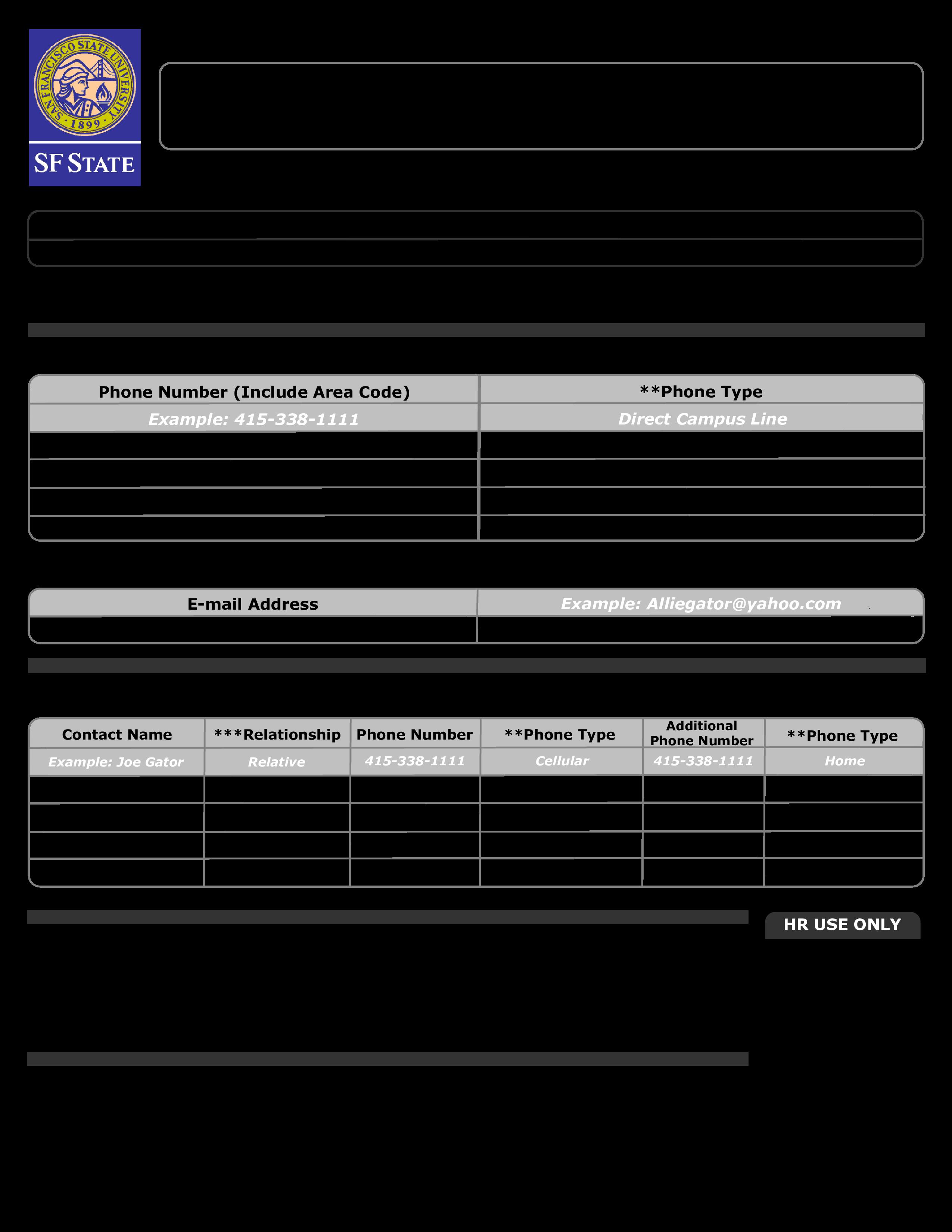 免费Interactive Employee Emergency Notification Form | 样本文件在 ...