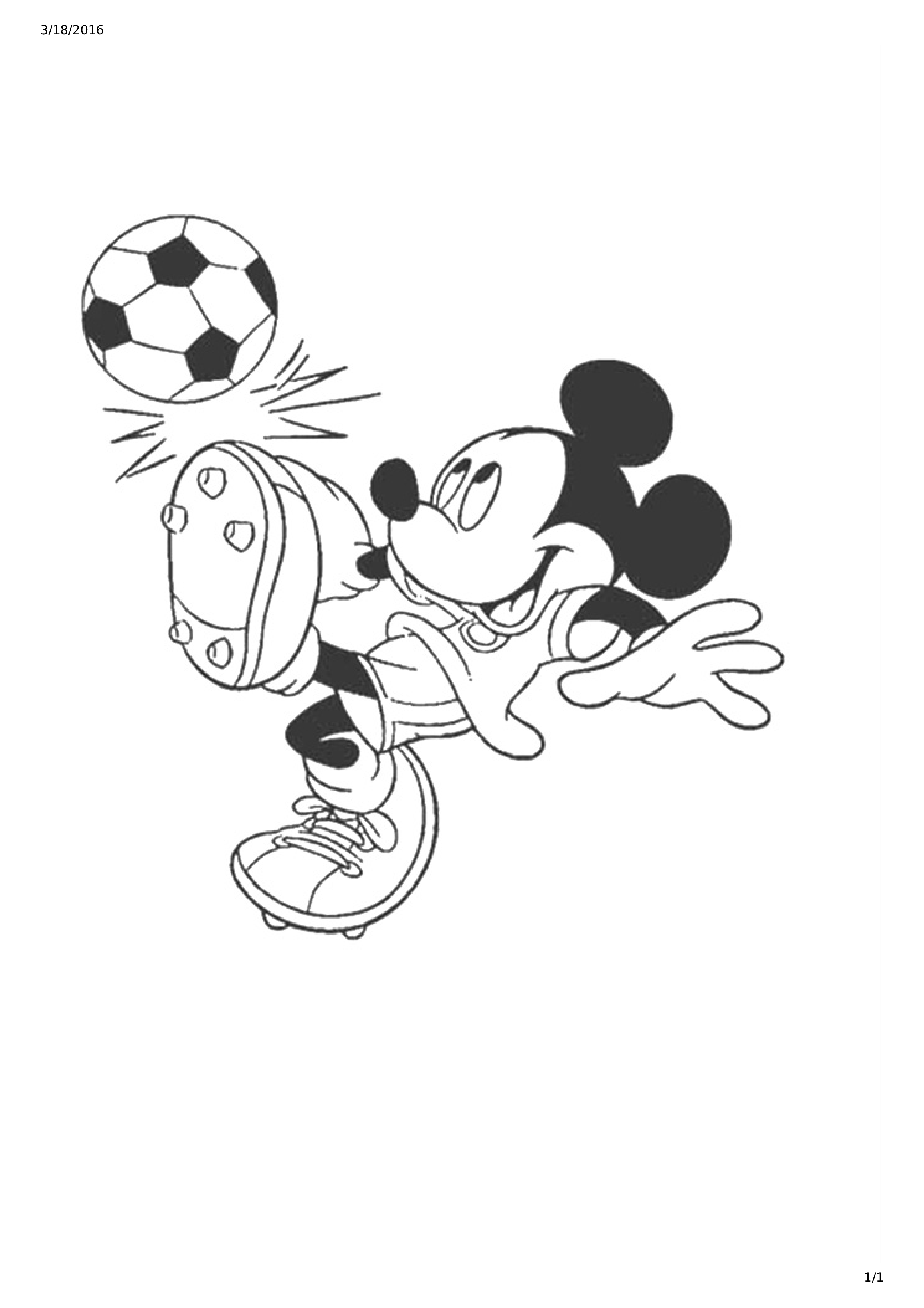 Mickey Mouse Playing Soccer Colour Drawing main image