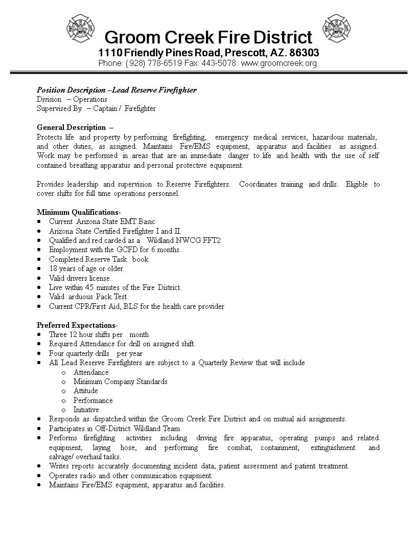 Free Reserve Firefighter Job Description Templates At