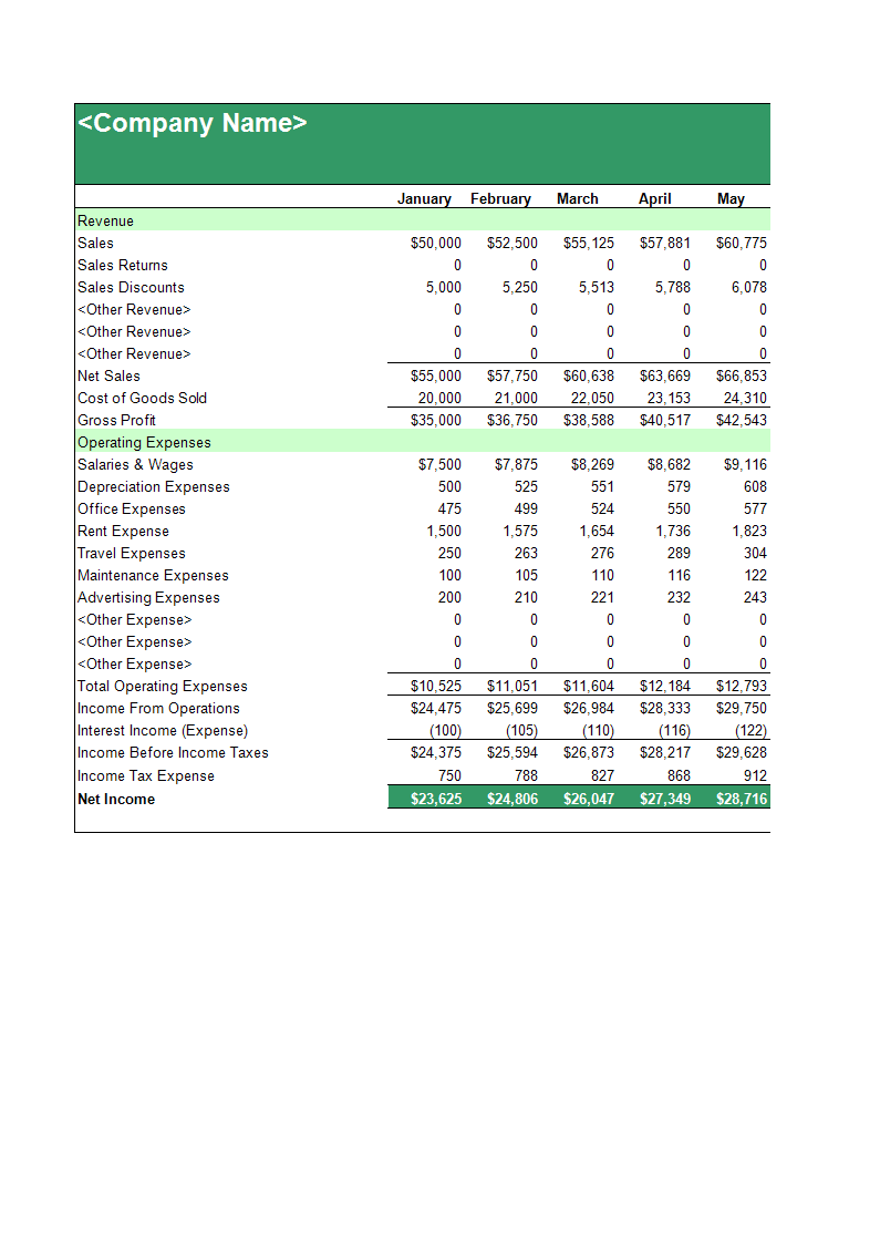 Income Statement Template sample main image