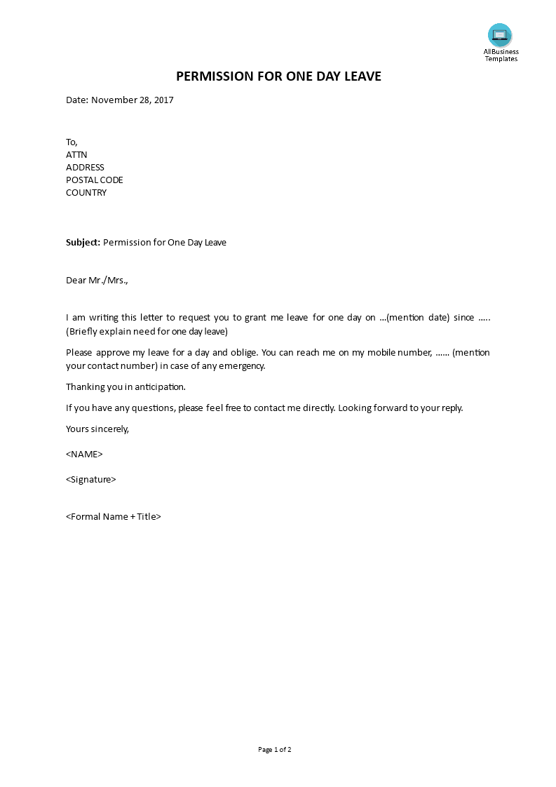 One Day Leave Application Letter   Templates at ...