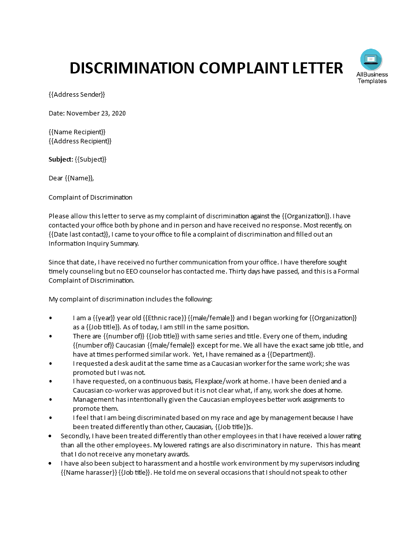 formal employee discrimination complaint letter main image download template