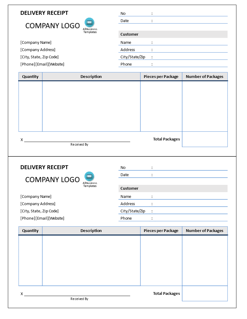 free delivery receipt templates at