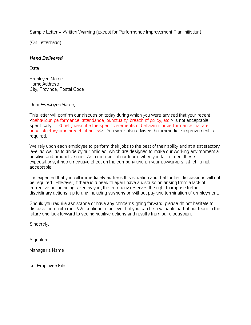 Poor Performance And Attendance Warning Letter | Templates