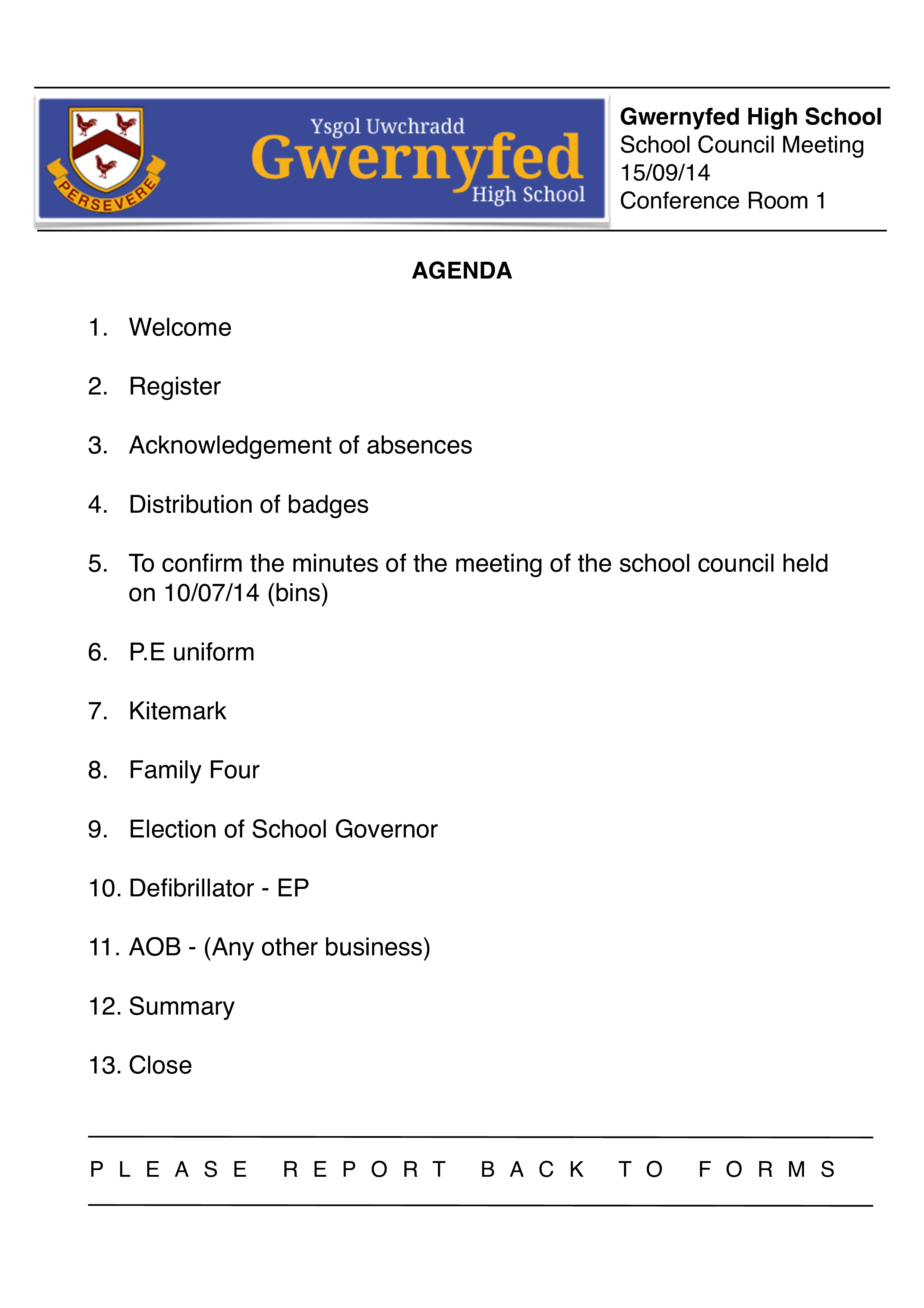 School Council Meeting Agenda Template main image