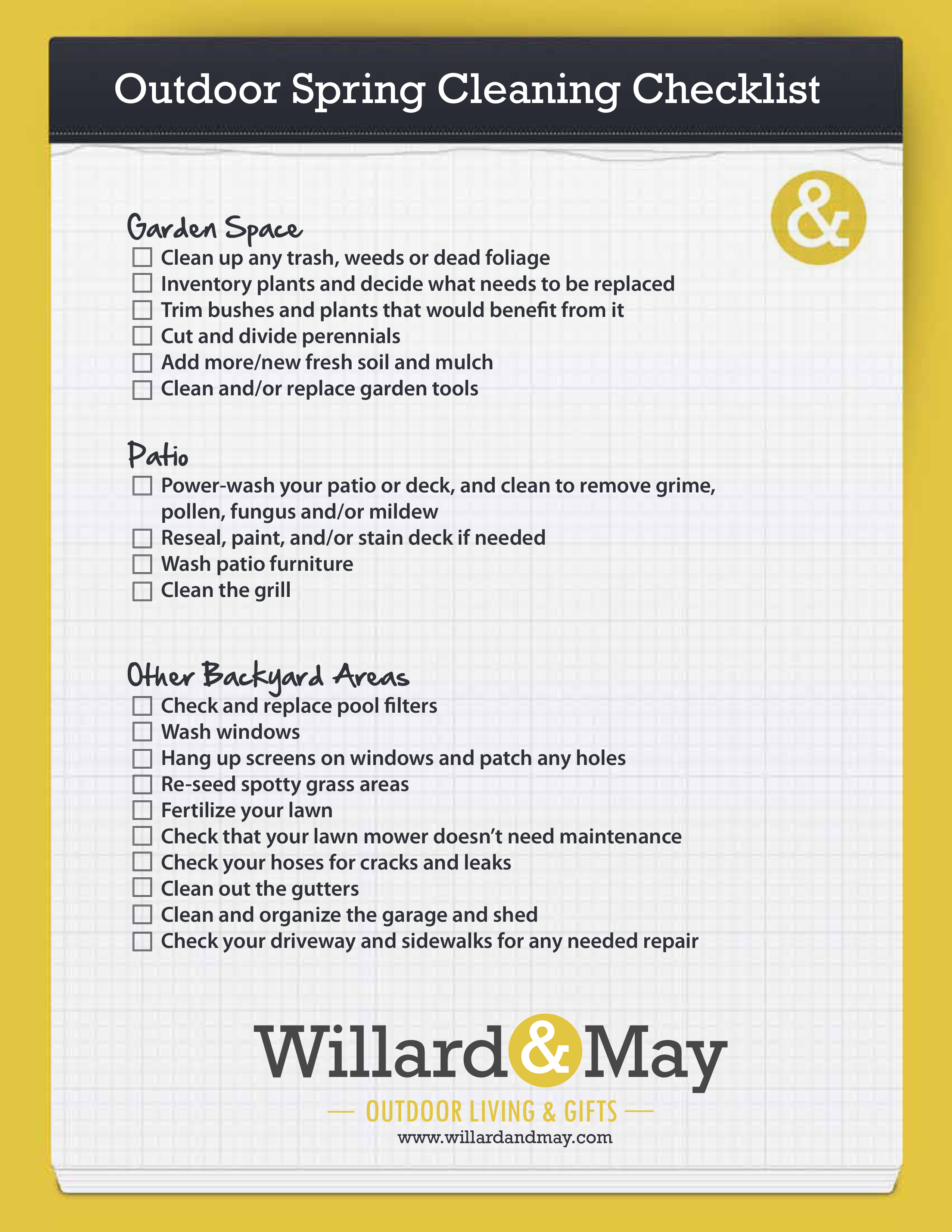 Outdoor Spring Cleaning List Templates At Allbusinesstemplates Com