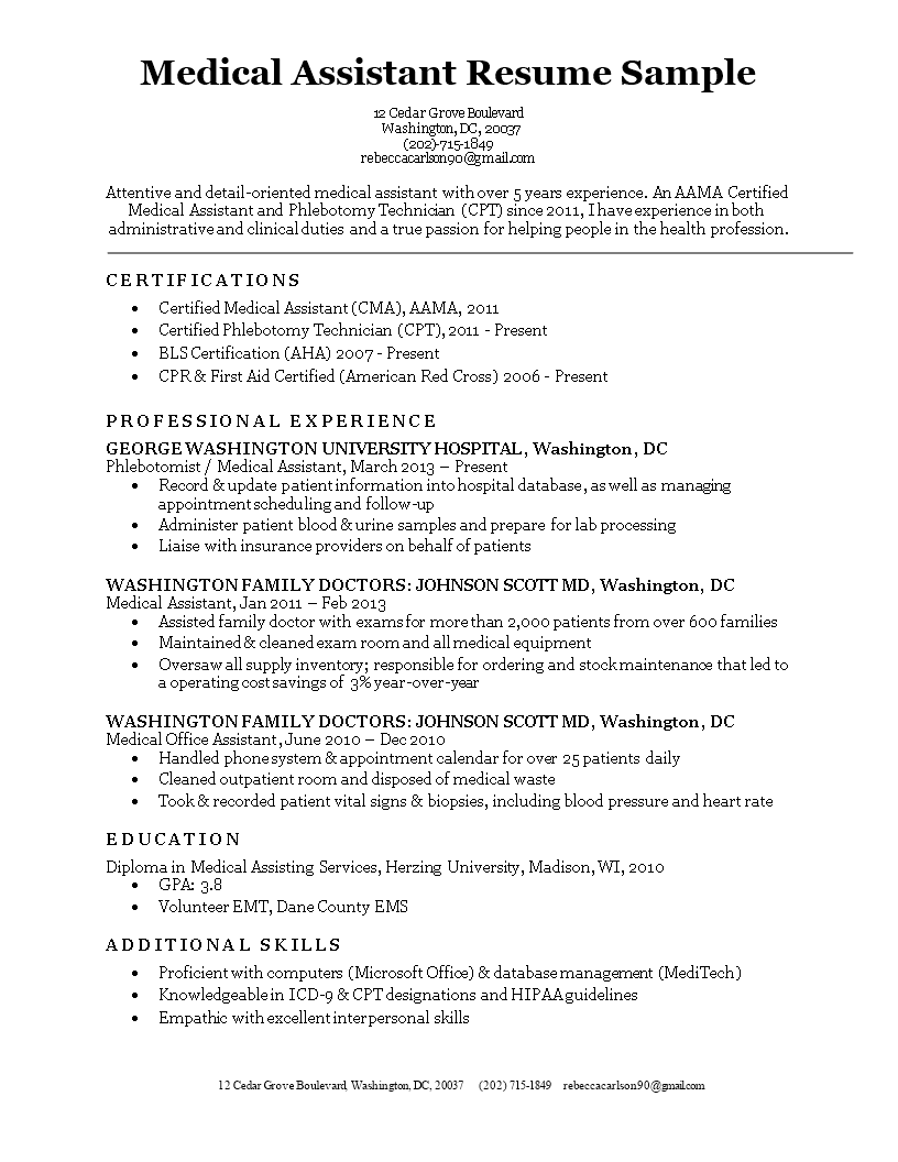Free Medical Assistant Resume Sample | Templates at ...
