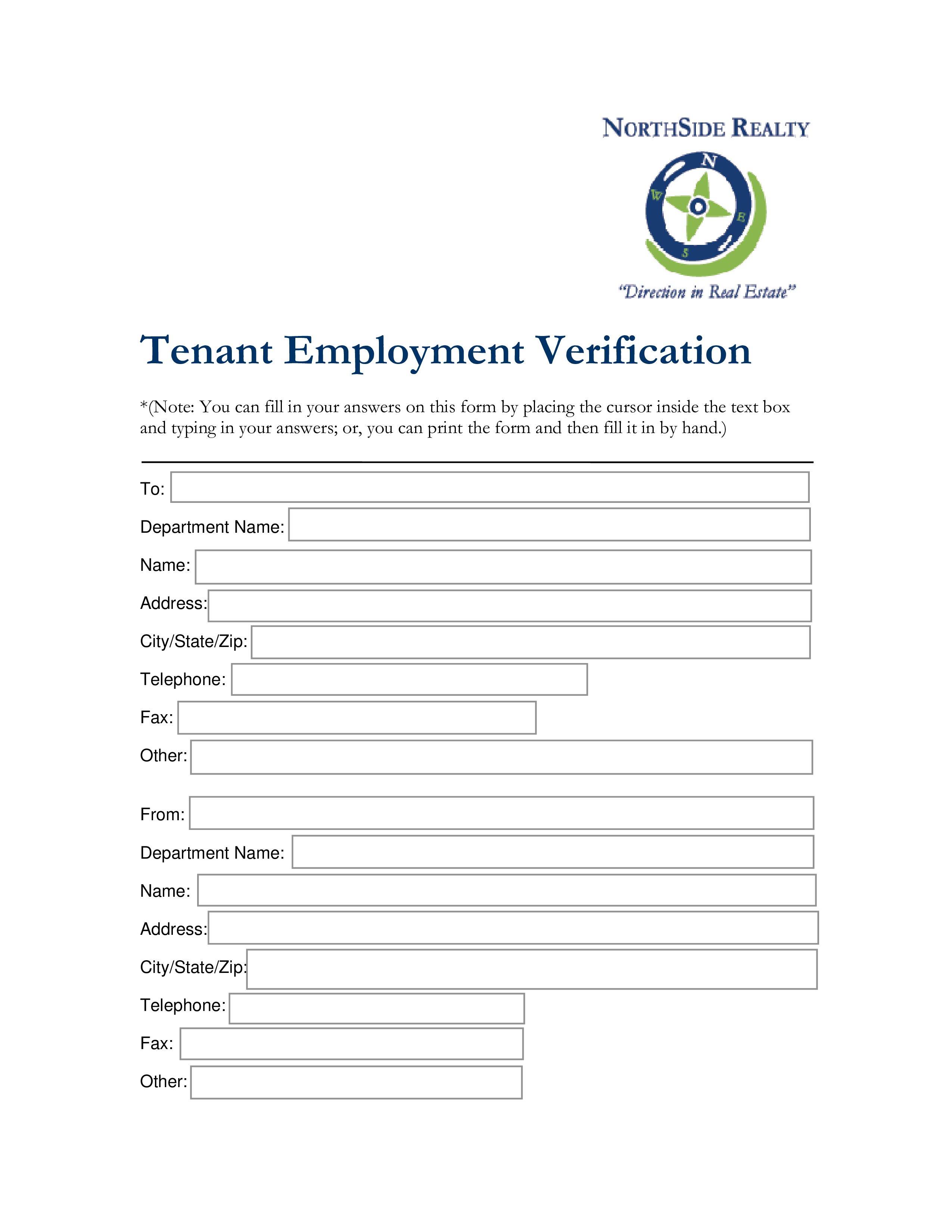 Free Tenant Employment Verification Form Sample Templates At
