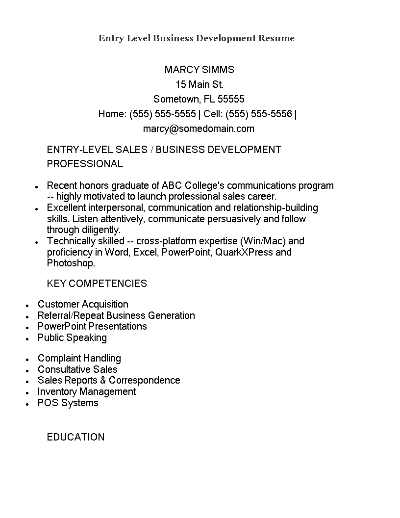 Entry Level Business Development Resume Templates At