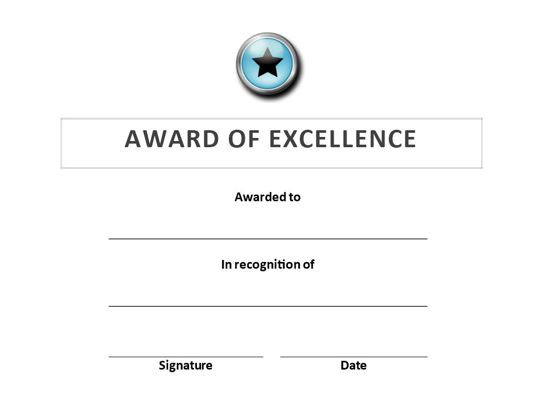 Award of Excellence Certificate main image