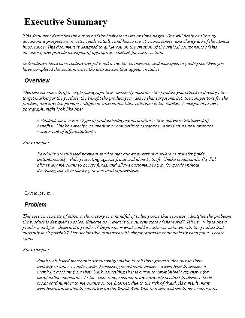 free executive summary word templates at