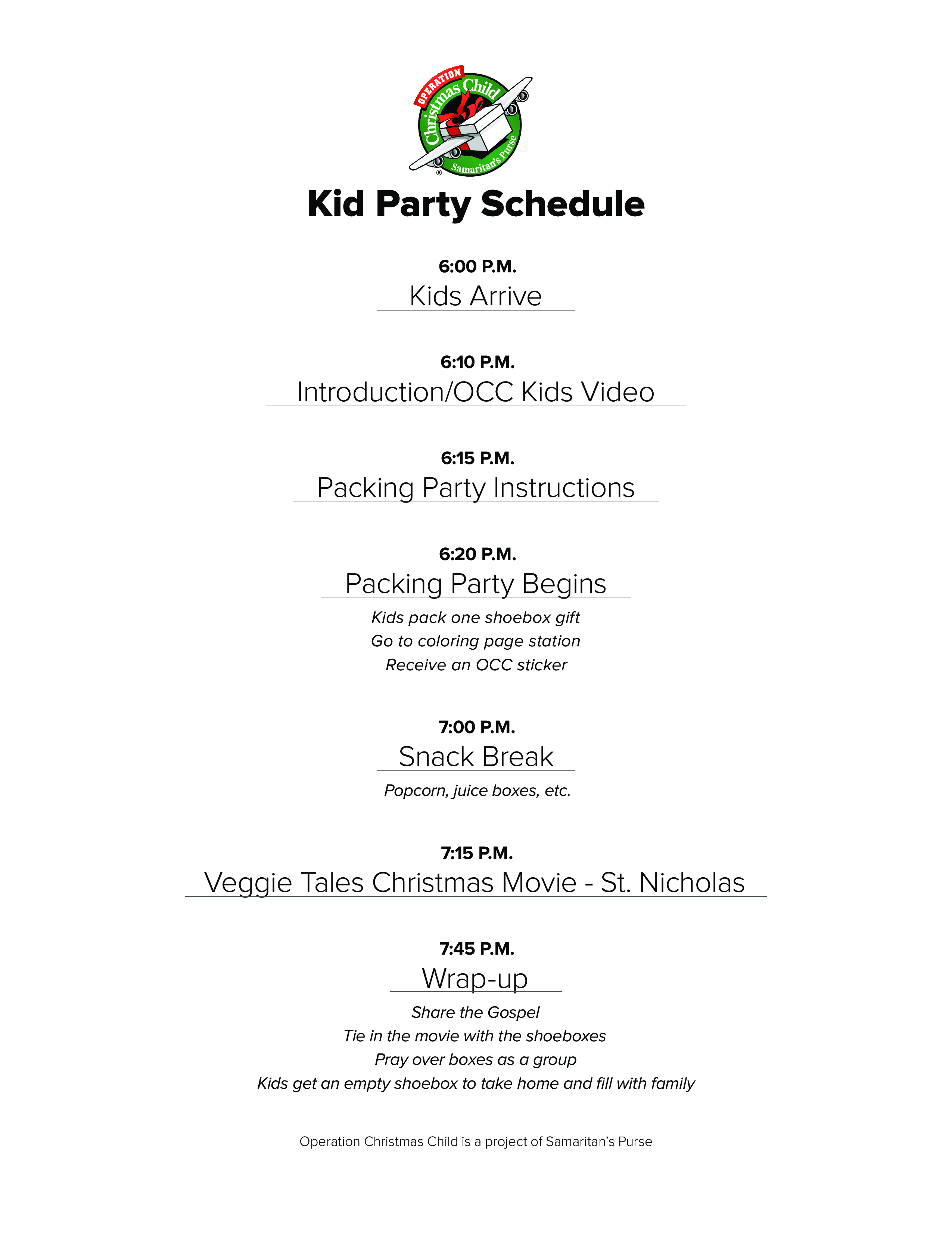 free kid party schedule templates at