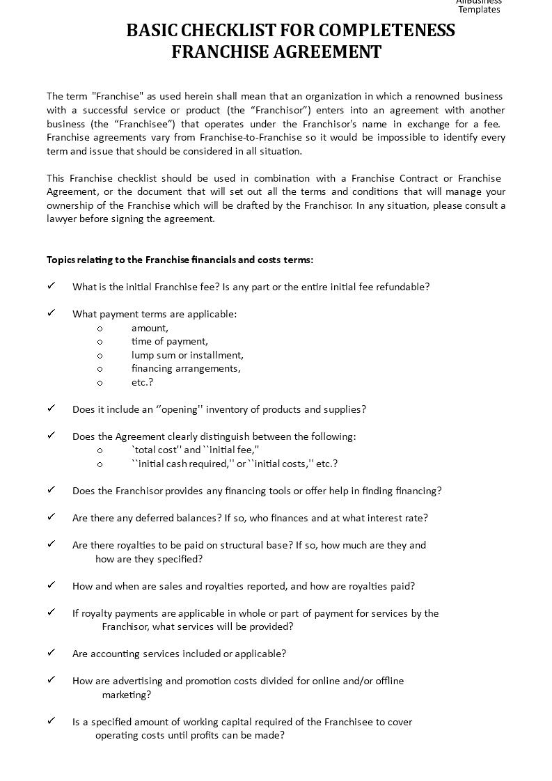 Franchise Checklist Templates At Allbusinesstemplates