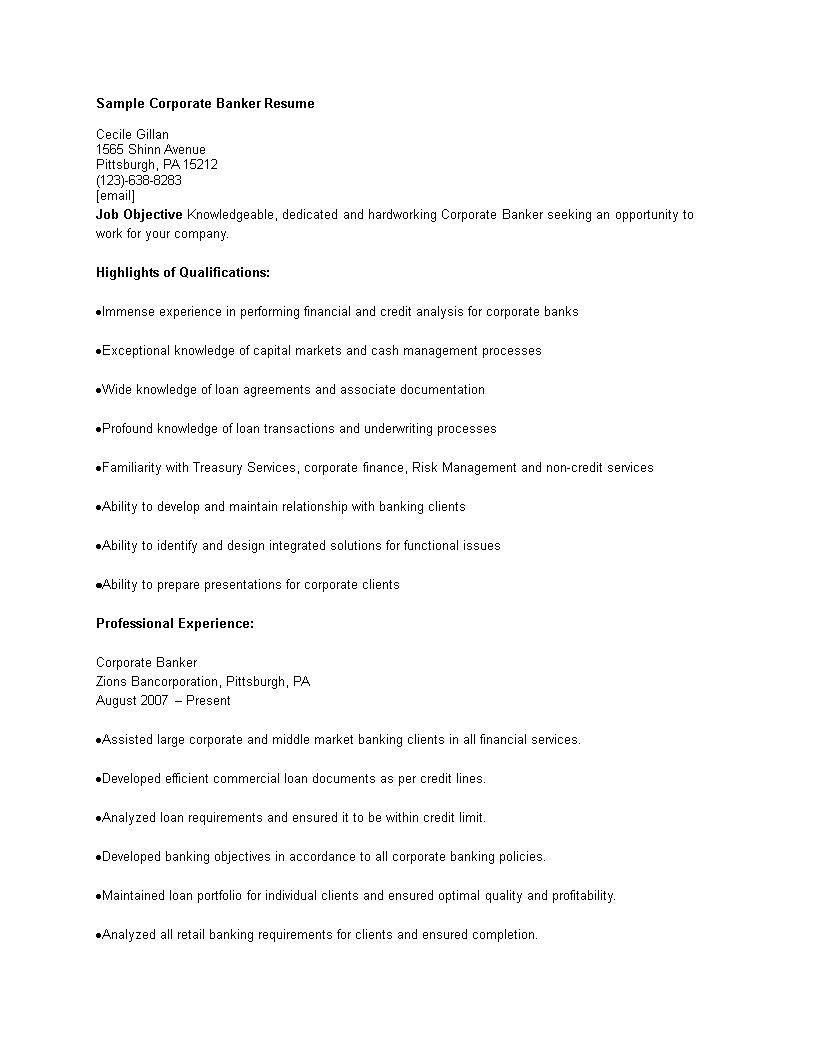 Free Sample Corporate Banking Resume | Templates at ...