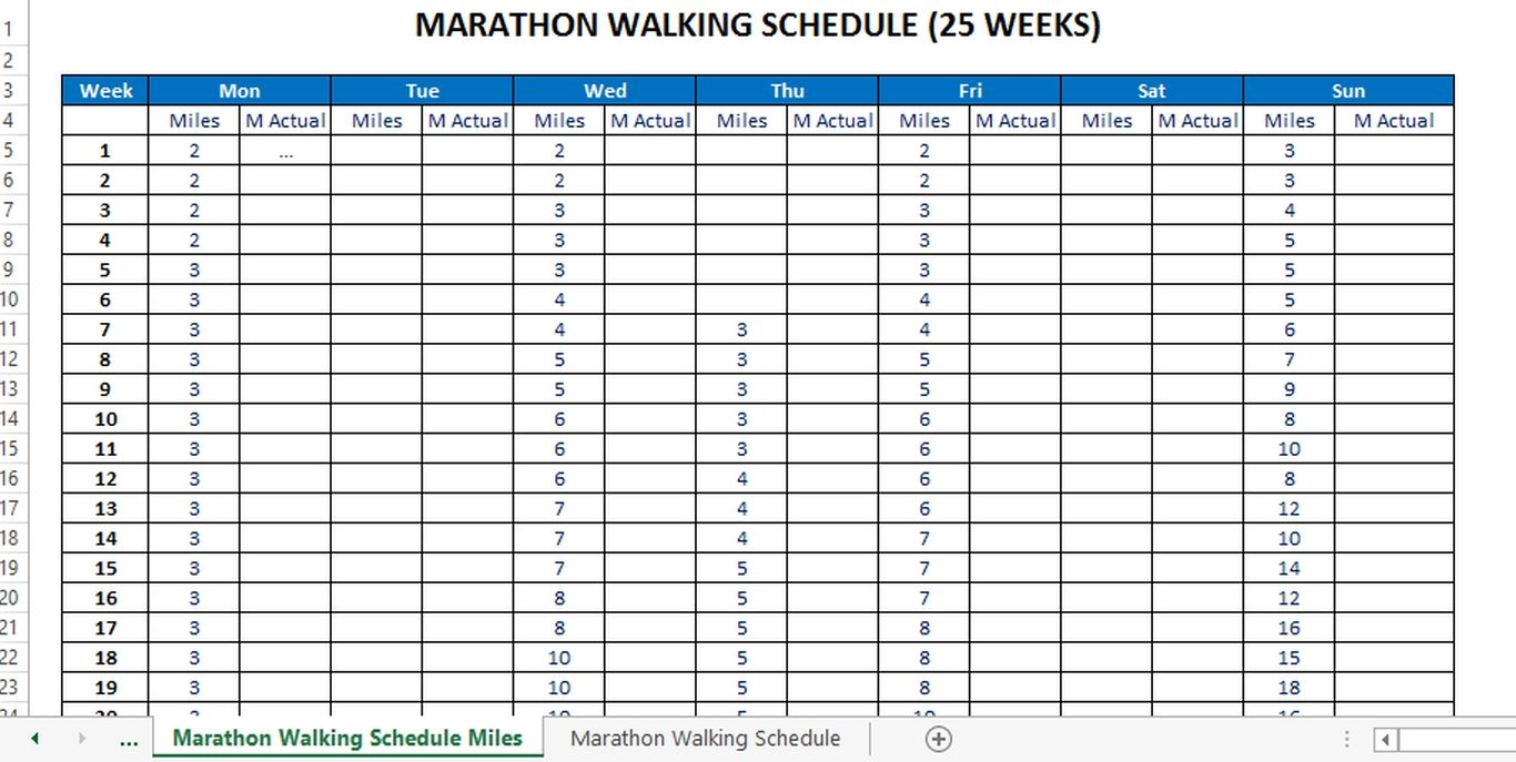 Marathon Running Schedule for starters (in Miles) main image