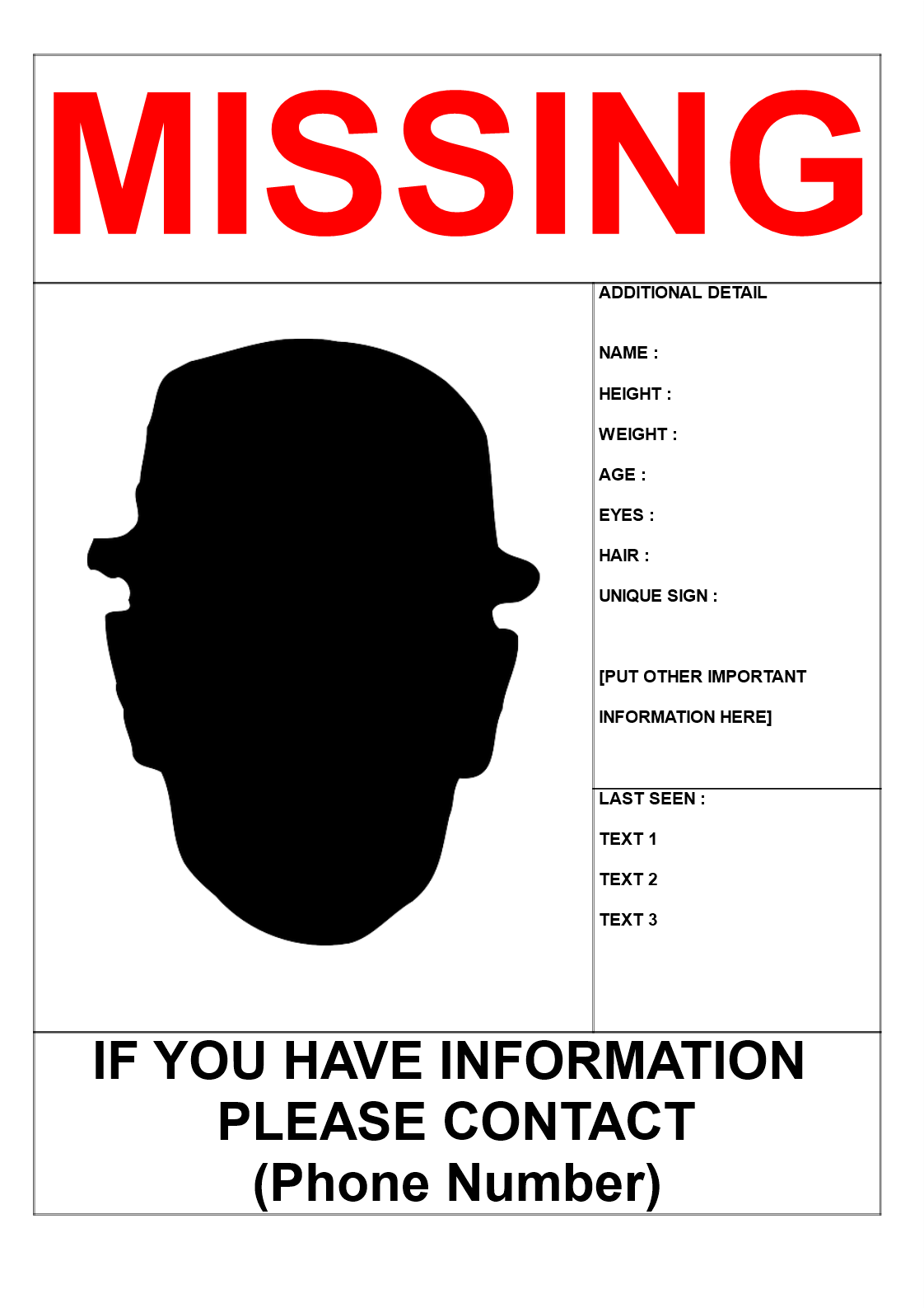 Blank missing person template