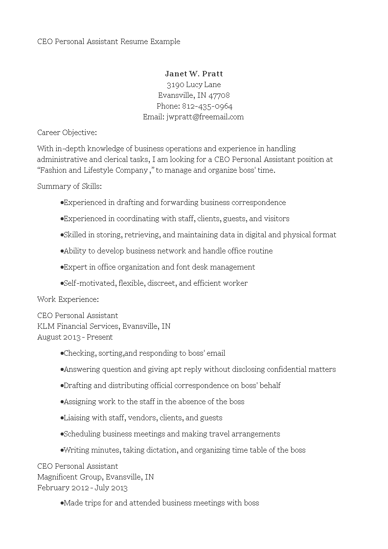 Ceo Personal Assistant Resume main image