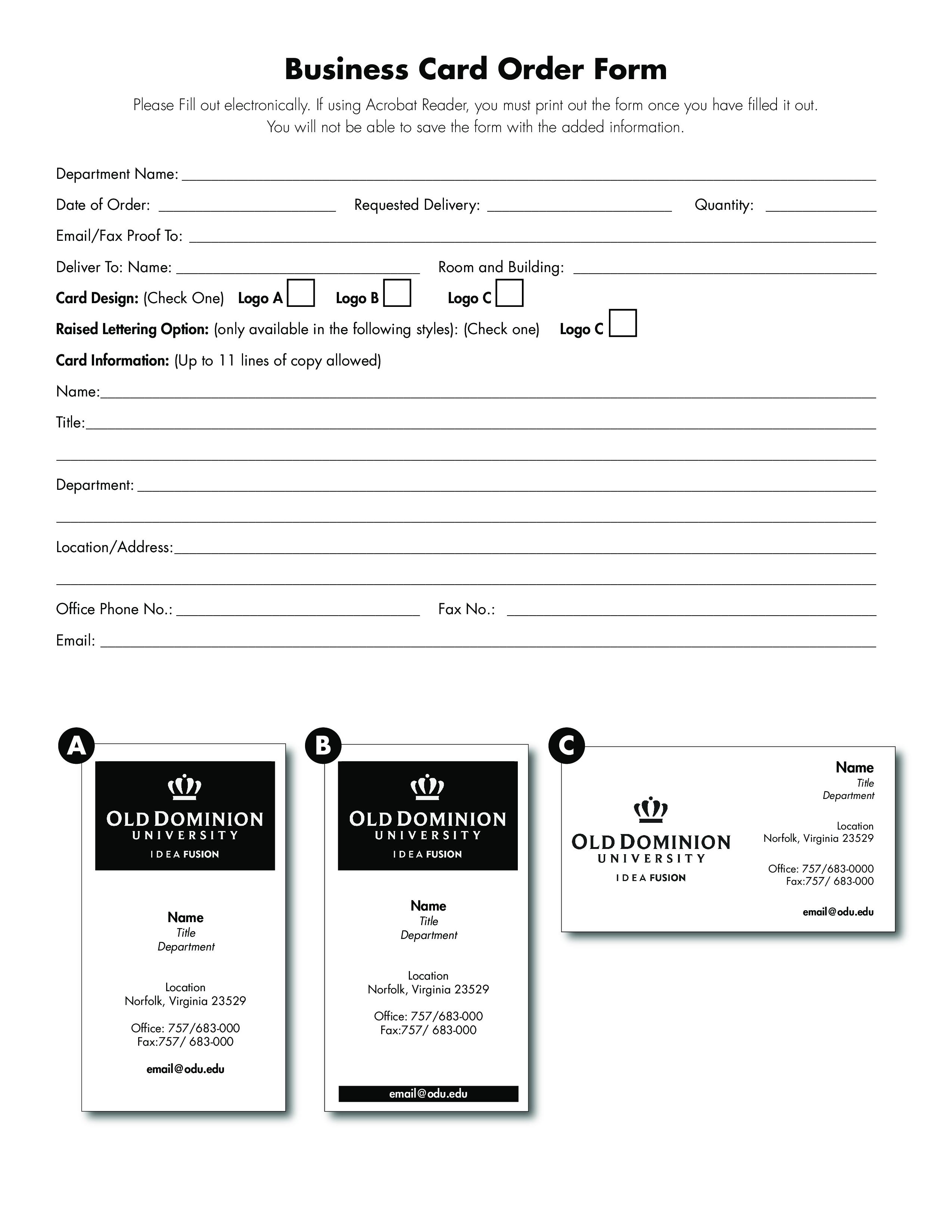 Free Business Order Form Templates At Allbusinesstemplates Com