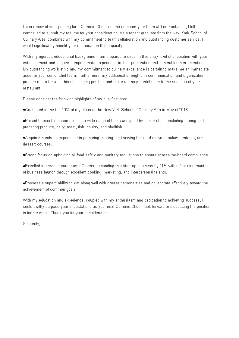 Commis Chef Job Application Letter | Templates at ...