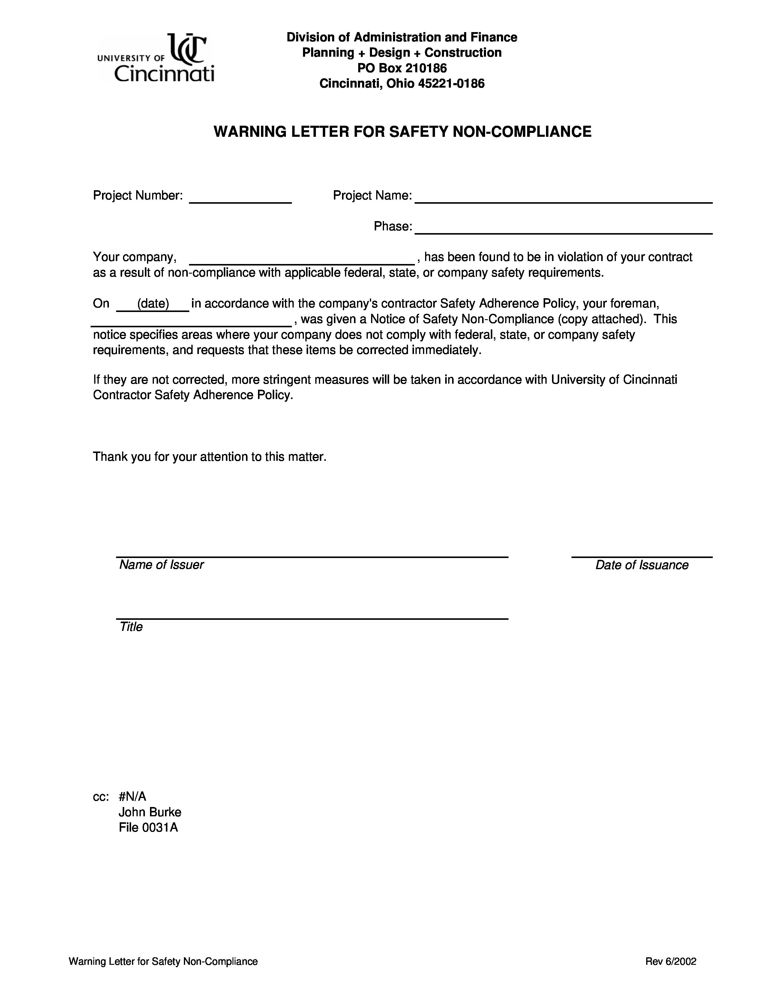violation letter template - Yeder berglauf-verband com