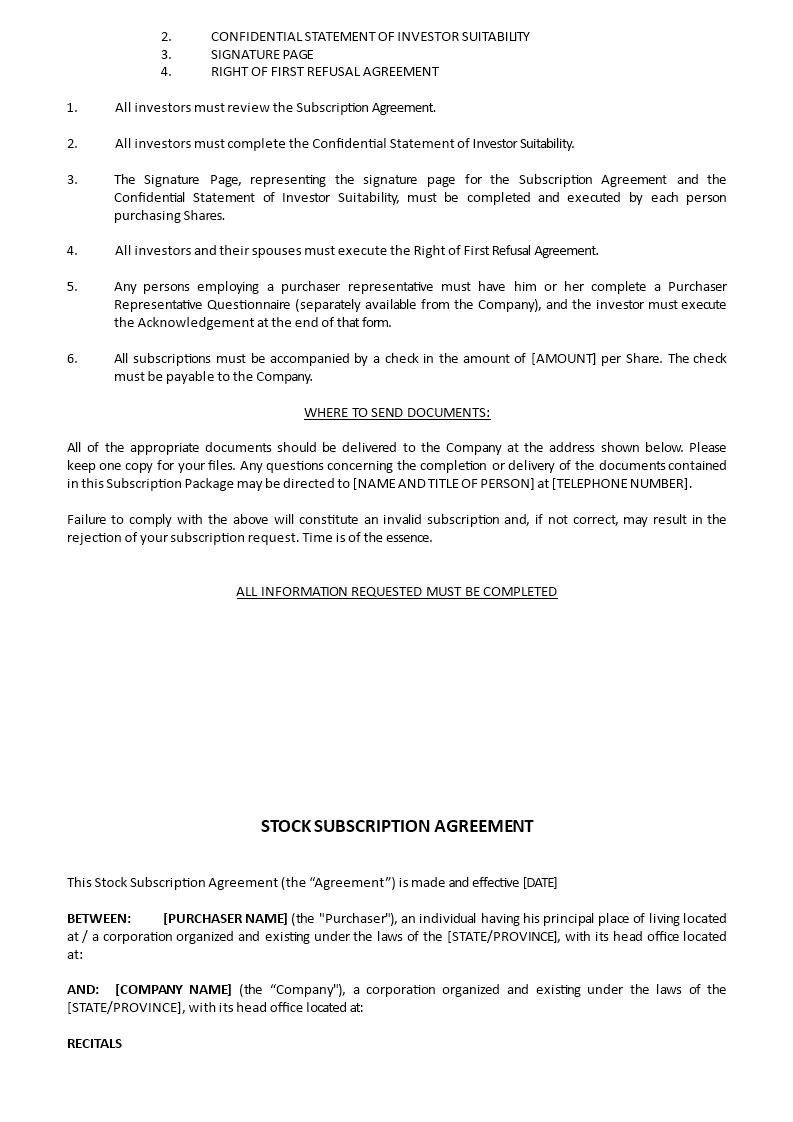 share subscription agreement sample