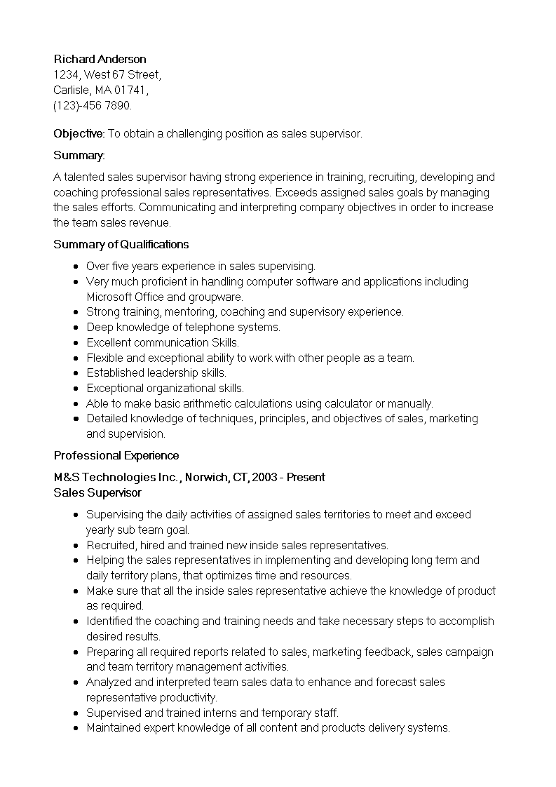 免费retail sales supervisor resume example 样本文件在