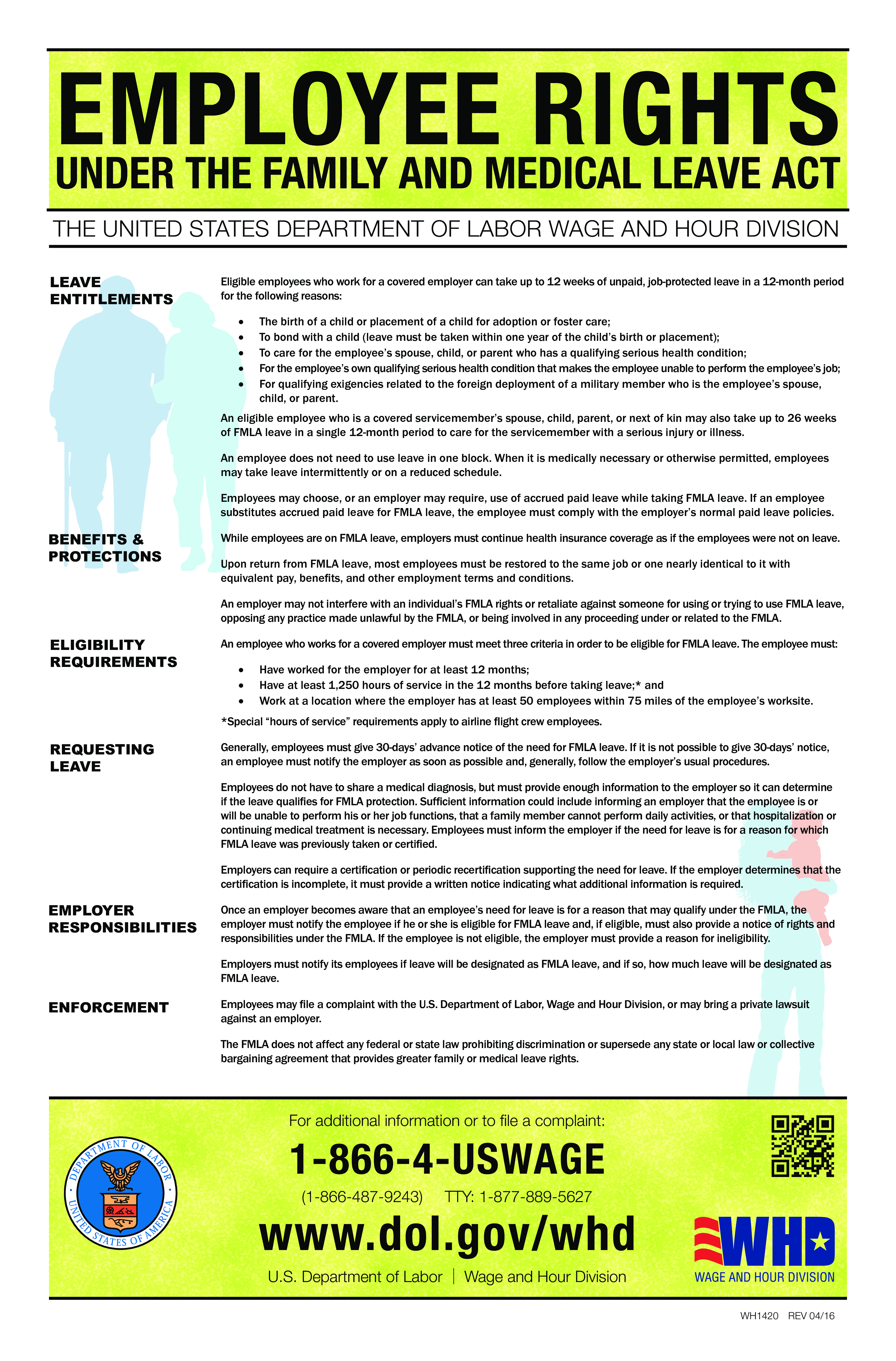 Employee rights poster Family Medical Leave Act main image